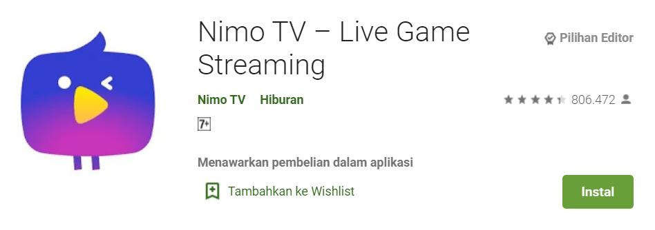 Aplikasi game streaming live
